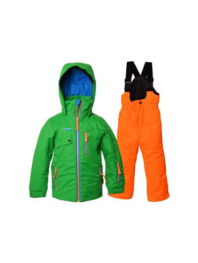 Otroški smučarski komplet Central Project - zelen/oranžen