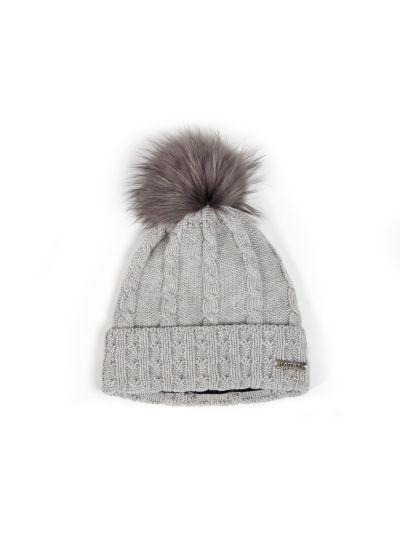 Ženska zimska kapa s cofom NORTON 7408 - siva