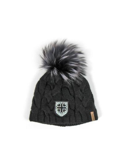 Ženska zimska kapa s cofom NORTON 7613 - črna