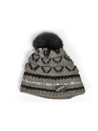 Ženska zimska kapa s cofom NORTON 7678 - rjava