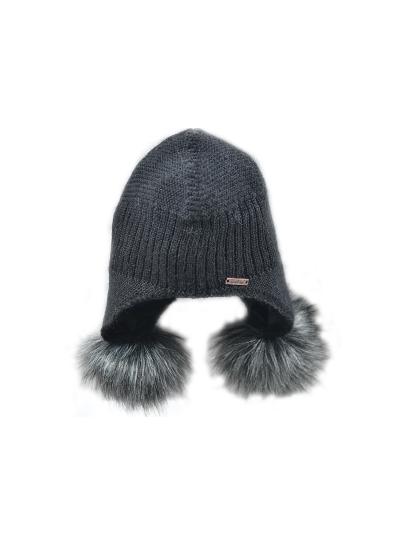 Ženska zimska kapa NORTON s cofki - črna