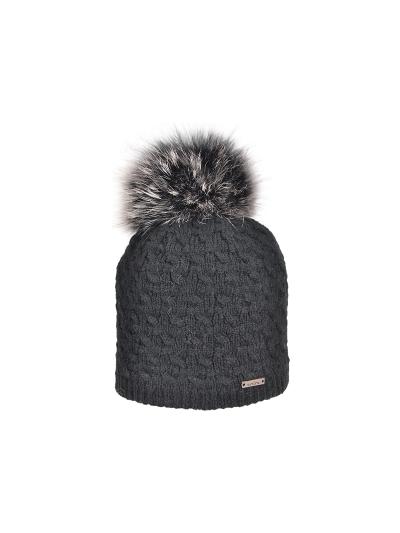 Ženska zimska kapa NORTON 8232 s kitami - črna