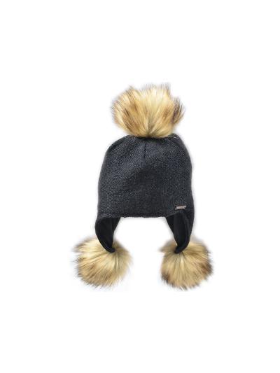 Ženska zimska kapa NORTON z rjavimi cofki - črna
