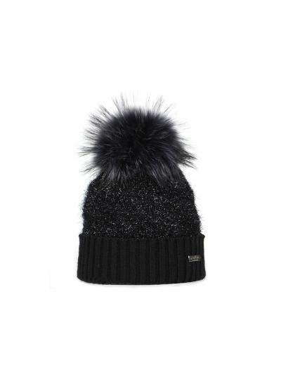 Ženska zimska kapa NORTON z bleščicami - črna