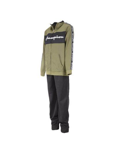 Otroški komplet Champion® 305100 jopica, dolge hlače - temno zelen / črn