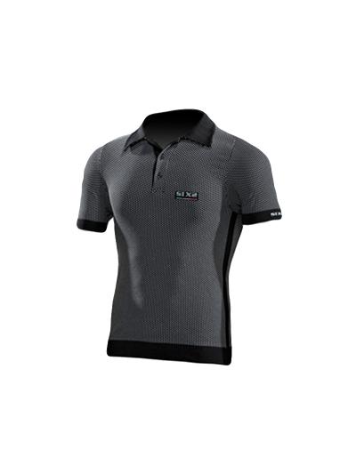 SIXS POL1 Polo majica s kratkimi rokavi - carbon črna