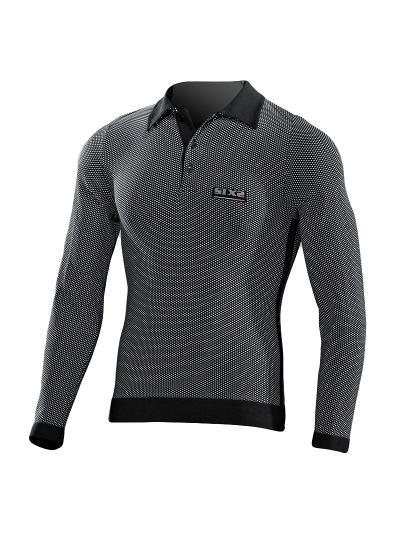 SIXS POL2 Polo majica z dolgimi rokavi - carbon črna
