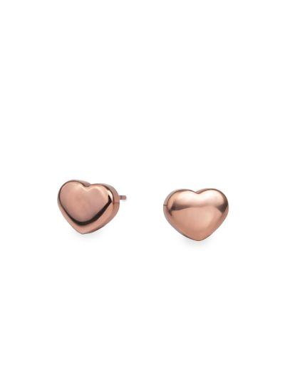 Ženski uhani MIA Srce - roza zlati